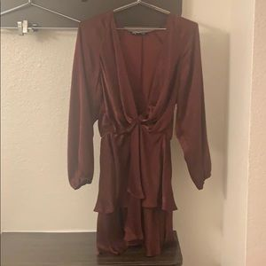 Zara size m maroon silky dress
